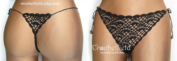 Sexy black crochet thong with beads g-string lace by Crochetfield