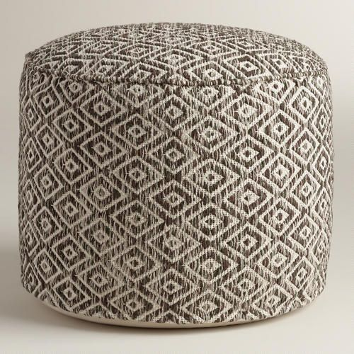 One of my favorite discoveries at WorldMarket.com: Brown and White Diamond Wool Pouf