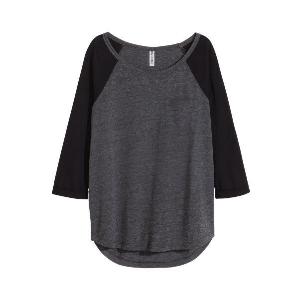 H&M Jersey Top $7.99 (100 EGP) ❤ liked on Polyvore featuring tops, raglan jersey, jersey top, h&m tops and raglan top