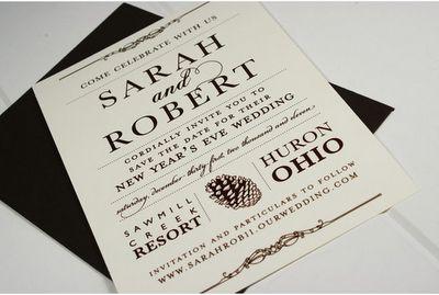 elegant pinecone wedding invitations