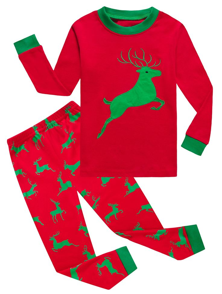 IF Pajamas Reindeer Baby Girls Boys Pjs 100% Cotton Long Sleeve Newborn Pajamas Sets Size Red 12-18 Months