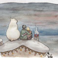 """Carte """"ours"""" - sur le toit - petit format"""