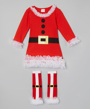 Love this Red & Black Santa Dress & Legwarmers - Infant, Toddler & Girls by Sweet Cheeks on #zulily! #zulilyfinds