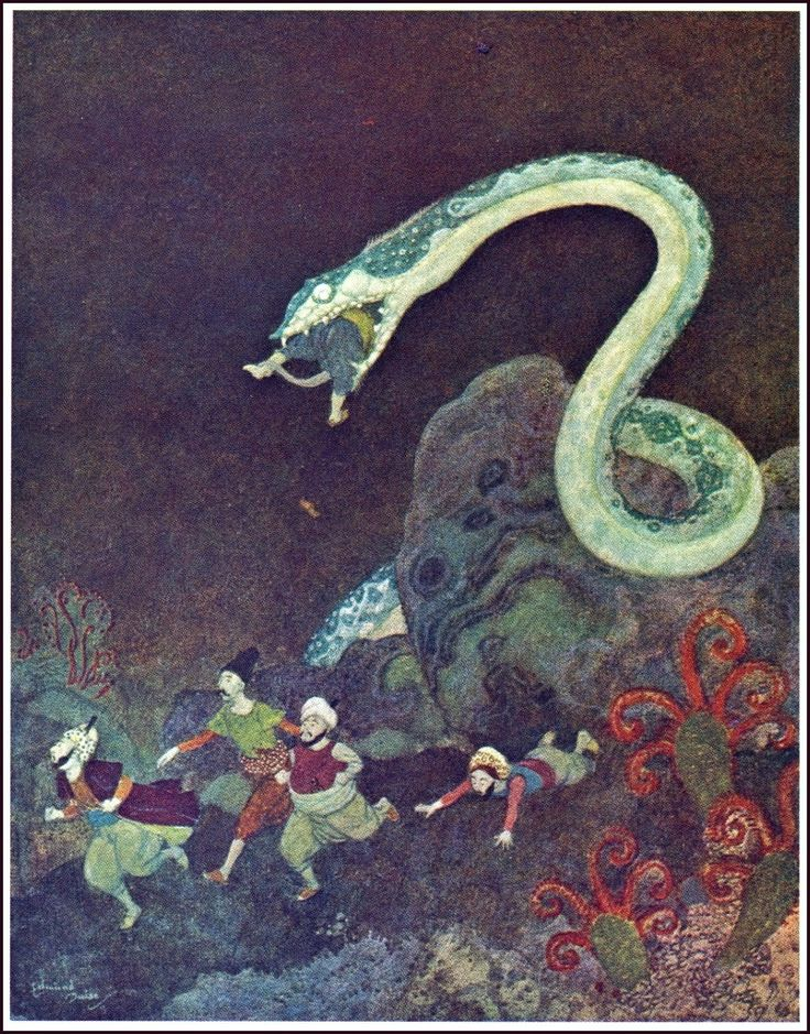 """Edmund Dulac (1882-1953), from """"Sinbad the Sailor and Other Stories from the Arabian Nights"""", 1907 Source: https://archive.org/details/sinbadsailorothe00dul_v41"""