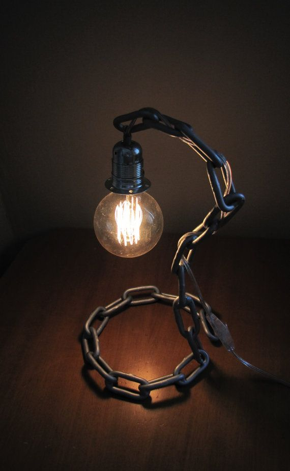Minimalistic Industrial Chain Lamp by SteamPunkEshop on Etsy