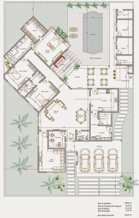 Projeto de casa térrea de 200 metros quadrados , estilo moderno, ideal para praia, áreas urbanas e condomínios residenciais. Conta com 3 q...