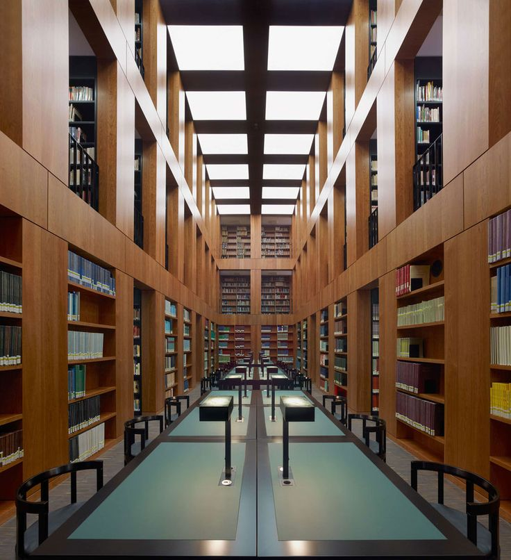 Reading room inside the Folkwang Library by Max Dudler. Photo by Stefan Müller.
