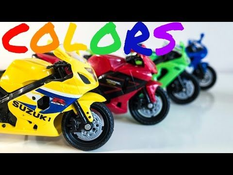 Learn Colors with Toy Motorcycles - Colours for Kids to Learn - YouTube