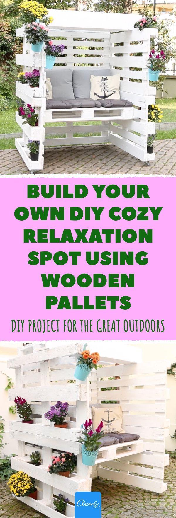 Bauen Sie Ihren Eigenen Gemutlichen Entspannungsplatz Mit Holzpaletten Diy Garden Diycraft Outdoors Diyproject Cleverly Diy Europaletten Garten Paletten Garten Strandkorb
