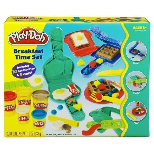 Includes 5 cans of Play-Doh compound and 10 accessories;Creative breakfast playset comes with everything you need to cook up a pretend Play-Doh-style breakfast...