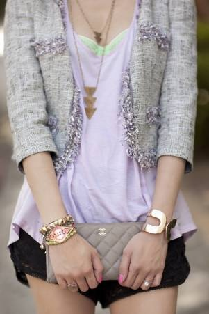 soft lavender, with a chanel edge: Women Fashion, Shorts Styles, Chanel Bags, Tweed Jackets, Soft Lavender, Street Styles, Vintage Necklaces, Spring Outfit, Lace Shorts