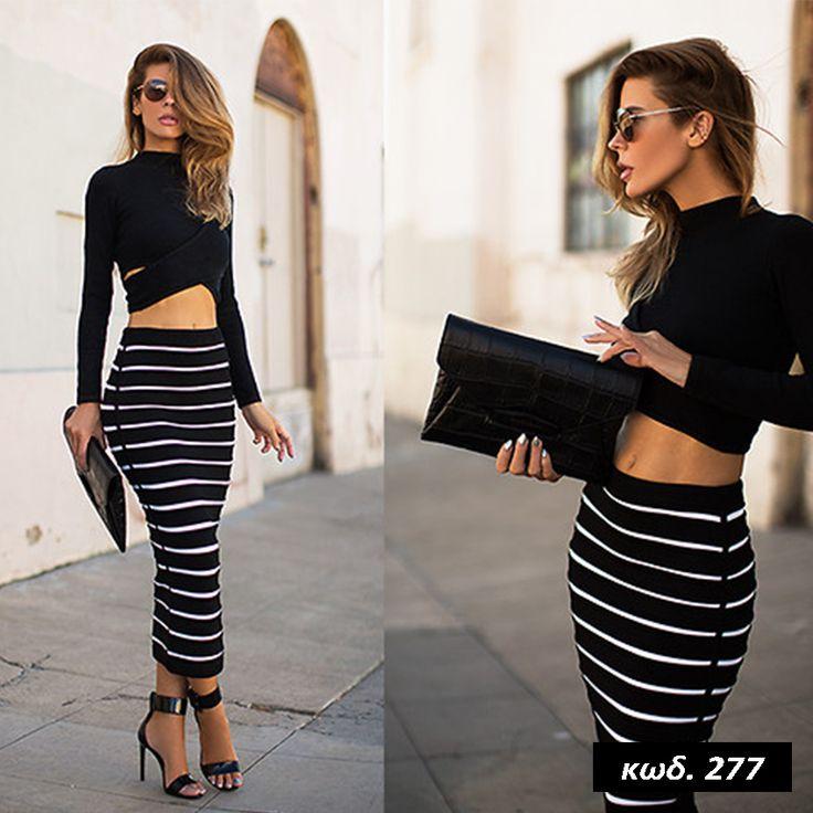 Κωδικός AD277, Υλικό Cotton Blend, Συνθετικό, Χρώμα Μαύρο-Λευκό, Black&White Color, Crop Top, Μακρυμάνικο, Long Sleeve, Ελαστικό, High Neck, Maxi Skirt, Ριγέ, Stripes, Elegant, Total Outfit, One Size