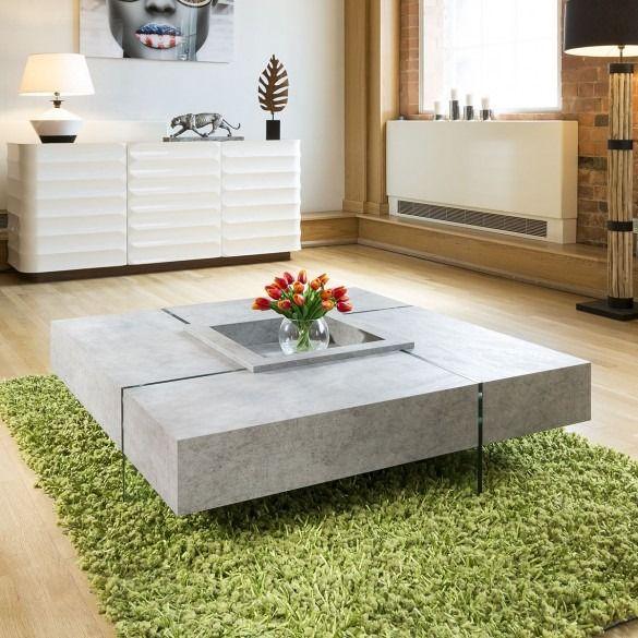 Quatropi Modern Large Square Concrete Coffee Table 1194 X 1194 X 305mm Coffee Tables Living Room Coffee Table Coffee Table Square Living Room Coffee Table
