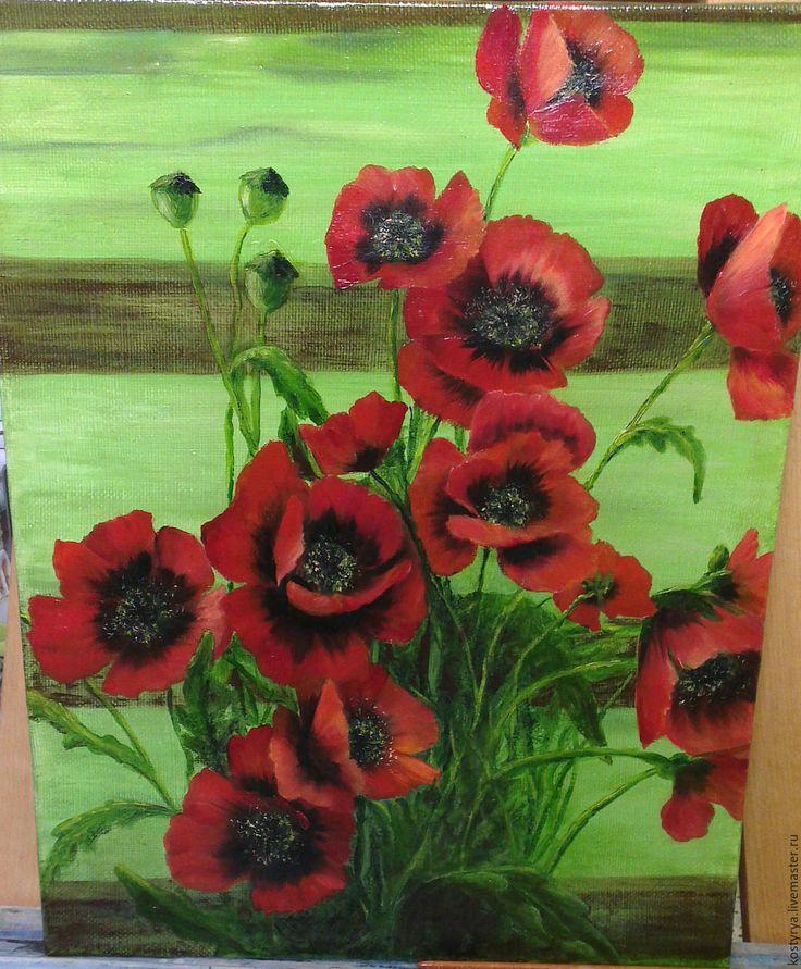 """Купить Картина """"Маки"""" - ярко-красный, картина, картина в подарок, картина для интерьера, картина маслом"""