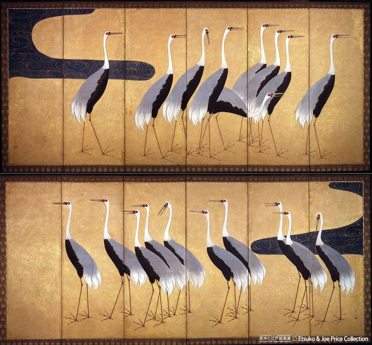 "Suzuki Kiitsu, ""Screens with a flock of cranes"" The Etsuko and Joe Price Collection."