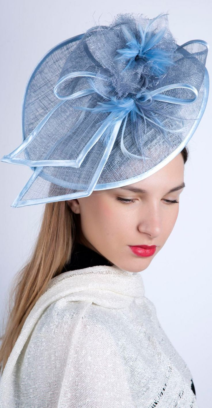 7397f7f9a4d6d Cornflower Blue, Light Blue Saucer with Bow Hat. Kentucky Derby, Del Mar,
