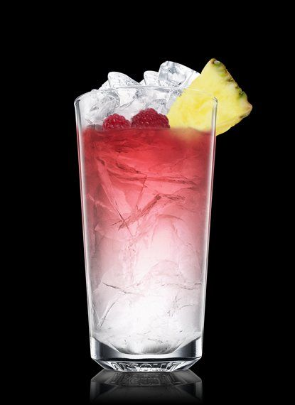 Create the perfect Absolut Raspberri Punk with this step-by-step guide. Fill a chilled highball glass with ice cubes. Add all ingredients. Garnish with pineapple and a raspberry. 2 Parts Absolut Raspberri, 1 Part Cranberry Juice, 1 Spear Pineapple, 1 Whole Raspberry