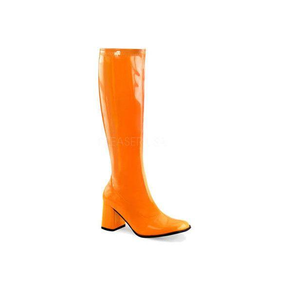 Women's Funtasma Gogo 300UV ($46) ❤ liked on Polyvore featuring shoes, boots, dresses, high heels, orange, orange boots, orange shoes, knee high heel boots, high heel shoes and knee high boots