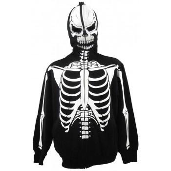 White Skeleton Full Zip Hoodie