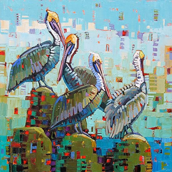 """Pelican Party "" - Rene Wiley -36x36inch-Oil on Canvas by Rene' Wiley Gallery Unenhanced Giclée ~ square to 40 inches x"