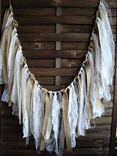 5 ft Rustic lace garland, burlap garland, rag bunting, home decor, Wedding prop , fabric banner, shabby shic garland