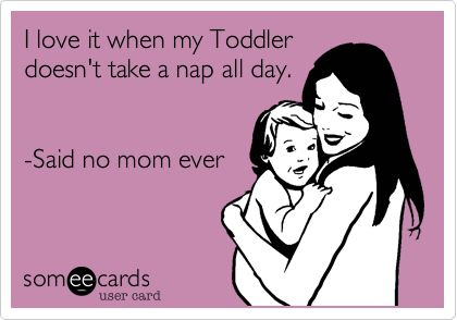 I love it when my Toddler doesn't take a nap all day. -Said no mom ever.