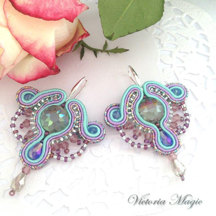 Glamour Dangle Earrings - Soutache Earrings - Soutache Earrings with Crystals…
