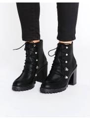 AsosEISHA - Bottes de randonnée en cuir - Noir