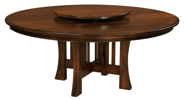 Amish Arts & Crafts X-Base Dining Table with Optional Lazy Susan Stunning in solid wood, the Amish Arts & Crafts X-Base Dining Table with Optional Lazy Susan is a dining table that connects family.