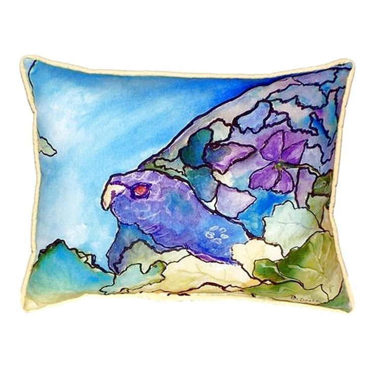 Betsy Drake Purple Turtle Small Indoor/ Outdoor Throw Pillow