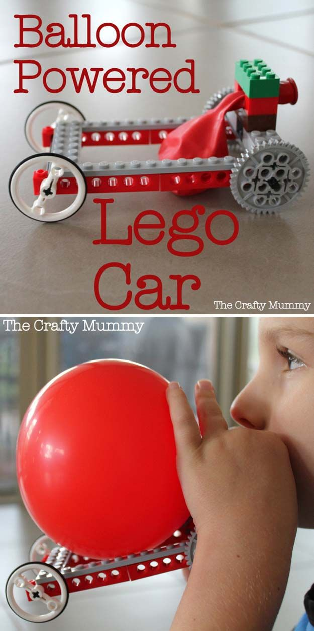 Cool Educational DIY Lego Craft Ideas | Balloon Powered Lego Car by DIY Ready at http://diyready.com/21-awesome-diy-lego-ideas/