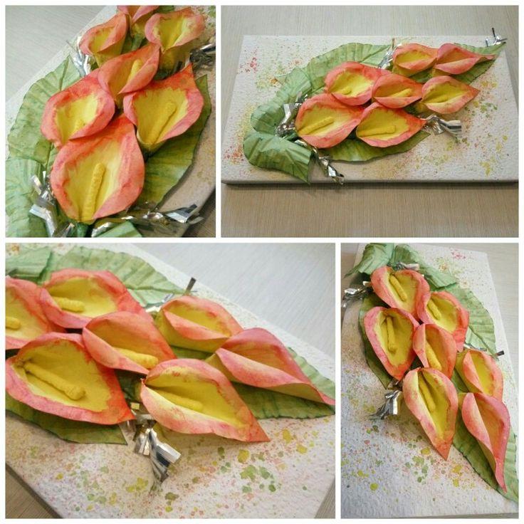 Скрап. Ручная работа. С нуля))) Цветы из бумаги.  Оформление коробки конфет к Новому Году.