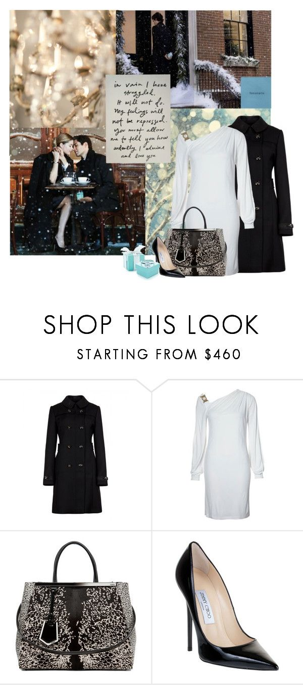 """""""Engagement Outfit Contest (II)"""" by partywithgatsby ❤ liked on Polyvore featuring Alexander McQueen, Tiffany & Co., Ted Baker, Versace, Fendi, Jimmy Choo, top handle bags, trench coats and pumps"""