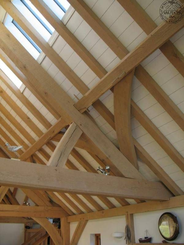 Oak roof detail with queen post