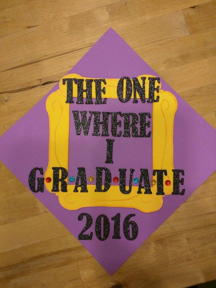 Friends themed graduation cap decor