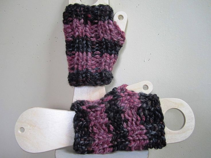 Chunky Mitts Fingerless Texting Gloves Wristlets Striped Pink Black Wool Blend Short - Size Medium by stitchingbevy on Etsy