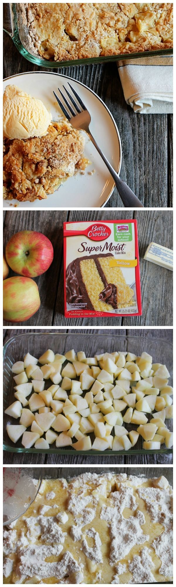 Fresh apples + Betty Crocker yellow cake + melted butter = easy fall dessert.