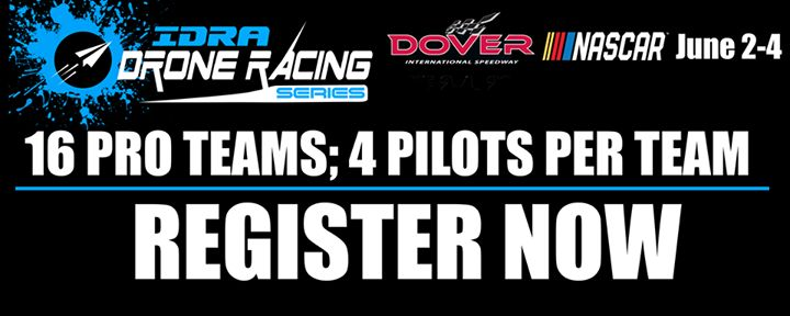 Several teams are registered!  Register now to race at Dover International Speedwayp for the launch of the 2017 Drone Racing Series. 16 Pro Teams; 4 Pilots Per Team - Only 1 pilot needs to register for the team!  Register Here:  http://www.idra.co/product/pilot-registration-usa/  #droneracing #IDRA #DroneRacingSeries #DoverInternationalSpeedway #Dover #MonsterMile #NASCAR #fpvracing #drones #racing #Droneontop  #DroneParts
