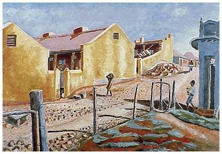 "Gerard Sekoto : ""Yellow houses.  A street in Sophiatown"" - South African modern art"