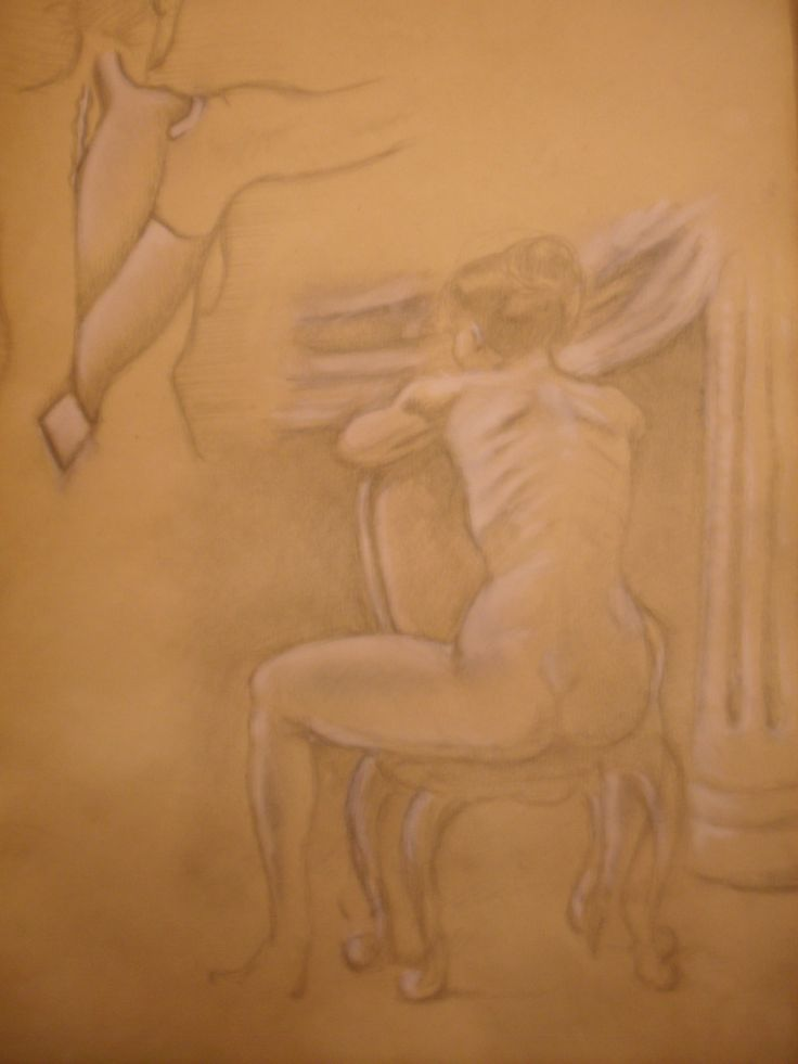 Life model drawing, nude on a french Louis XV chair sketch and anatomic sketch. 21 x 30 cm. pencil and white chalk on pink prepared paper, 2013 - Art by Jorge A. Porto