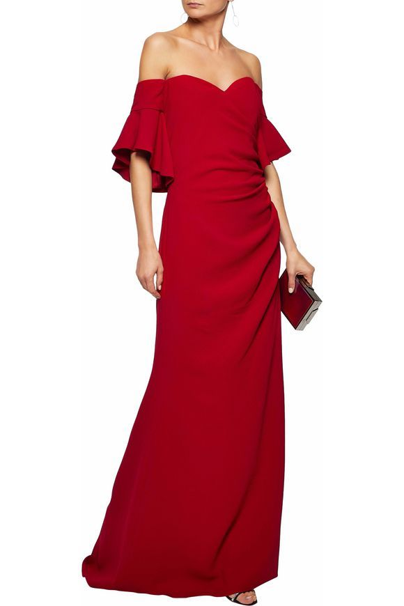 Off-the-shoulder ruched crepe gown | BADGLEY MISCHKA | Sale up to 70 ...