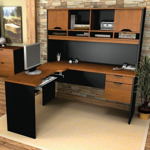 innova lshaped desk in tuscany brown u0026 black at