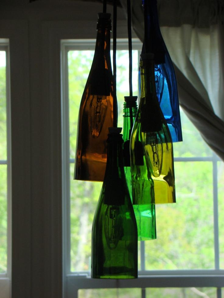 The 25 best bottle chandelier ideas on pinterest garage man cluster wine bottle chandelier mozeypictures Gallery