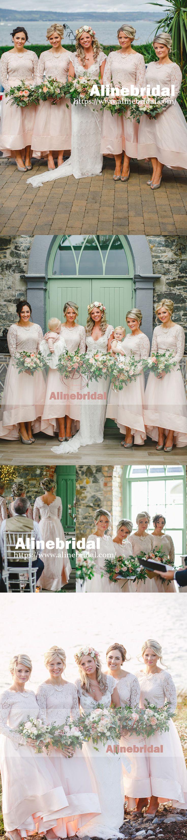 Long Sleeve Lace Top Unique High Low Ankle Length A-line Bridesmaid Dresses. AB1199