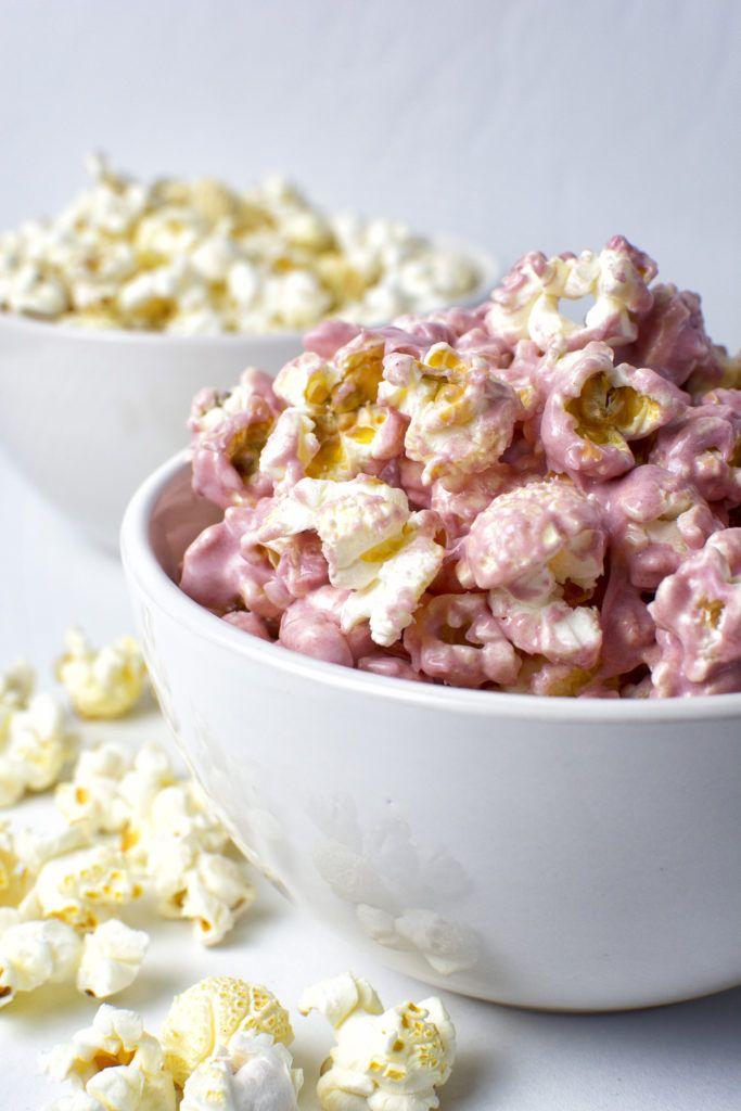 Roze witte chocolade popcorn voor Valentijnsdag!
