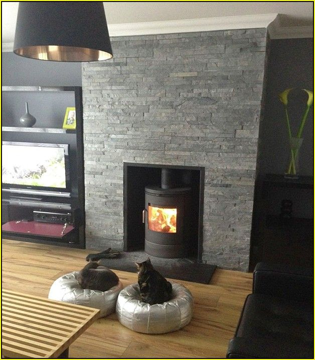 Subway Tile Living Room Interior: Black Slate Tile Fireplace