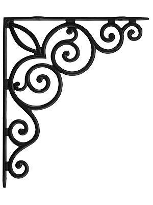 """Cast Iron Shelf Brackets. Decorative Vines Cast Iron Shelf Bracket - 10 1/8"""" x 11 3/4"""""""