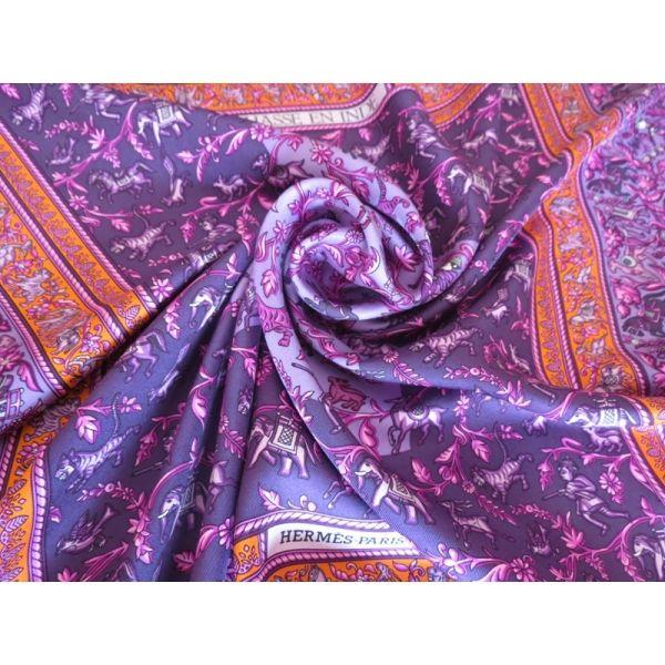 carré hermès,foulard soie,chasse en inde,duchene, hermès silk scarf ... 4f76ec227d0