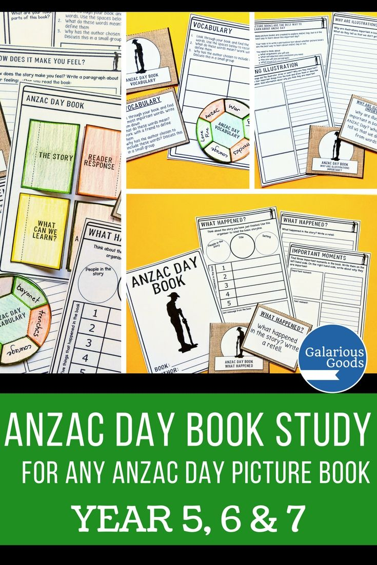 Australian and New Zealand teachers will be able to engage their Year 5, Year 6 and Year 7 students with any ANZAC Day picture book with this comprehensive book study resource. With retell, vocabulary, reader response, questioning and connection activities, it's perfect to compare picture books or for small group work. #galariousgoods #anzacday
