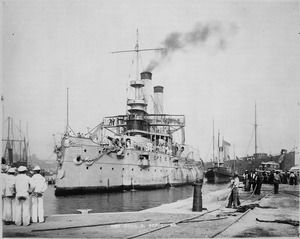 USS Iowa (Battleship No. 4) was the first ship commissioned in honor of the 29th state and is notable for being America's first seagoing battleship. Iowa saw substantial action in the Spanish–American War. This is a picture of Iowa entering drydock in 1898.